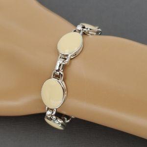 Liz Claiborne Ivory & Silver Tone Links Bracelet